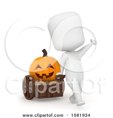 Clipart 3d Ivory Man Pulling A Jackolantern In A Cart - Royalty Free CGI Illustration by BNP Design Studio