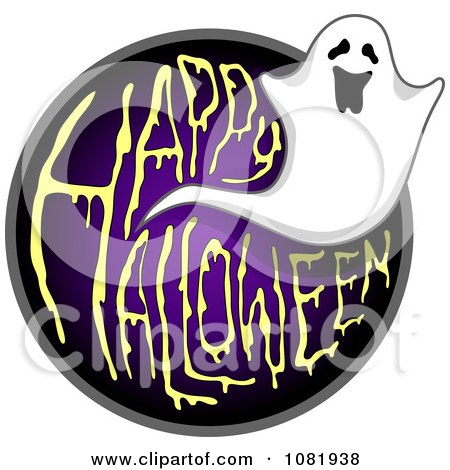 Clipart Ghost And Purple Happy Halloween Greeting - Royalty Free Vector Illustration by BNP Design Studio