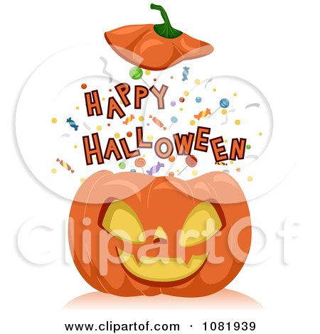 Clipart Happy Halloween Bursting Out Of A Jackolantern - Royalty Free Vector Illustration by BNP Design Studio