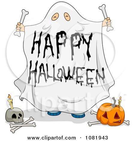 Clipart Sheet Ghost Happy Halloween Greeting - Royalty Free Vector Illustration by BNP Design Studio
