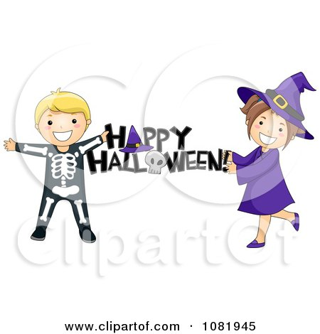 Clipart Skeleton And Witch Kids Holding A Happy Halloween Greeting - Royalty Free Vector Illustration by BNP Design Studio