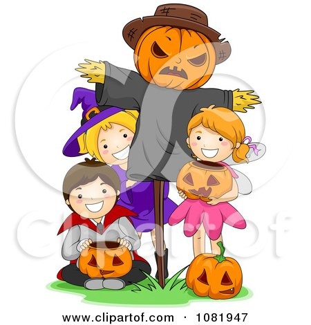 Clipart Halloween Kids With A Scarecrow - Royalty Free Vector Illustration by BNP Design Studio