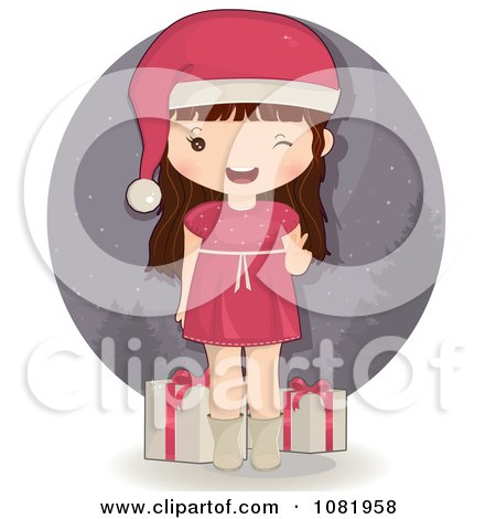 Clipart Winking Brunette Christmas Girl In A Pink Dress - Royalty Free Vector Illustration by Melisende Vector