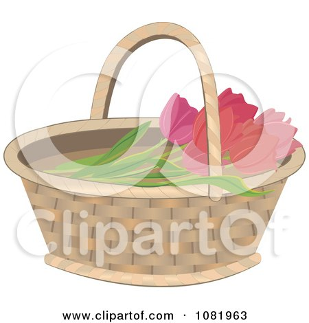 Clipart Basket With Pink Tulips - Royalty Free Vector Illustration by Melisende Vector
