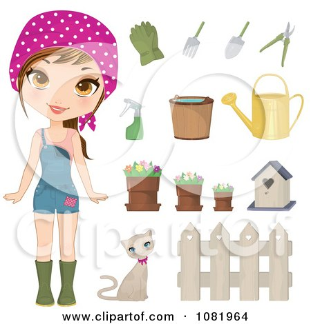 Clipart Gardening Woman With Tools - Royalty Free Vector Illustration by Melisende Vector