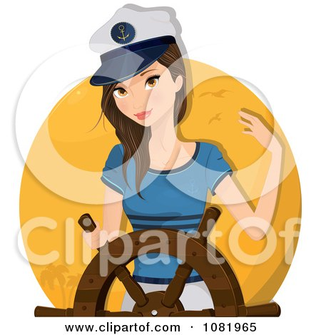 Clipart Sailor Woman Captain At The Helm - Royalty Free Vector Illustration by Melisende Vector