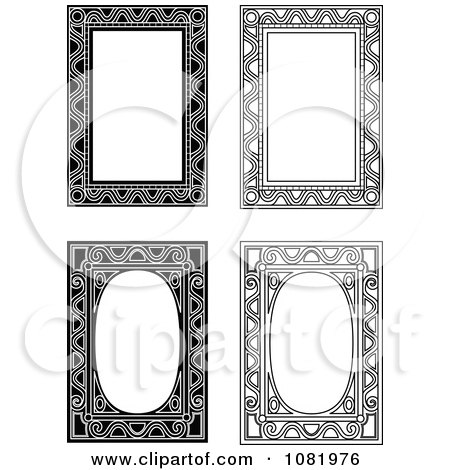 Clipart Four Black And White Frame Borders With Copyspace 3 - Royalty Free Vector Illustration by Frisko
