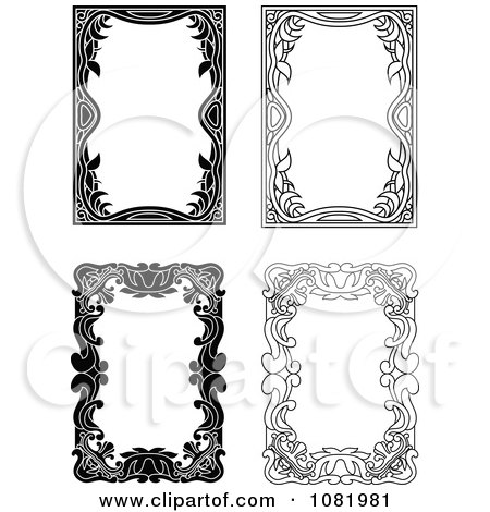 Clipart Four Black And White Frame Borders With Copyspace 4 - Royalty Free Vector Illustration by Frisko
