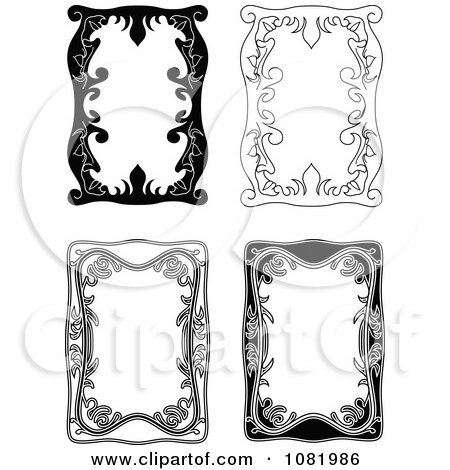 Clipart Four Black And White Frame Borders With Copyspace 2 - Royalty Free Vector Illustration by Frisko