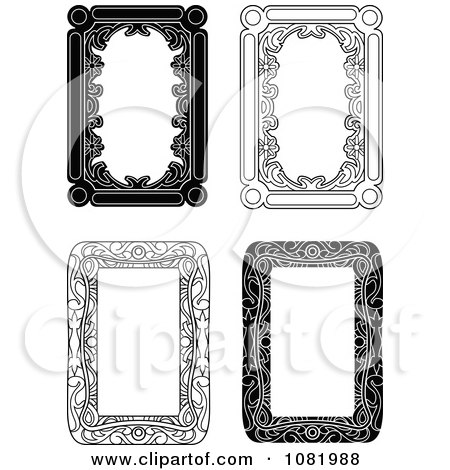 Clipart Four Black And White Frame Borders With Copyspace 1 - Royalty Free Vector Illustration by Frisko