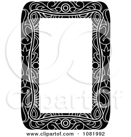 Clipart Black And White Frame Border With Copyspace 4 - Royalty Free Vector Illustration by Frisko