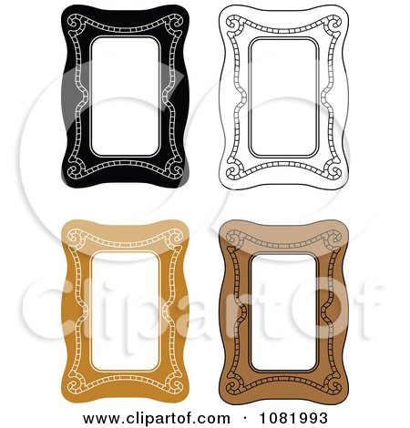 Clipart Brown And Black And White Frame Borders With Copyspace - Royalty Free Vector Illustration by Frisko