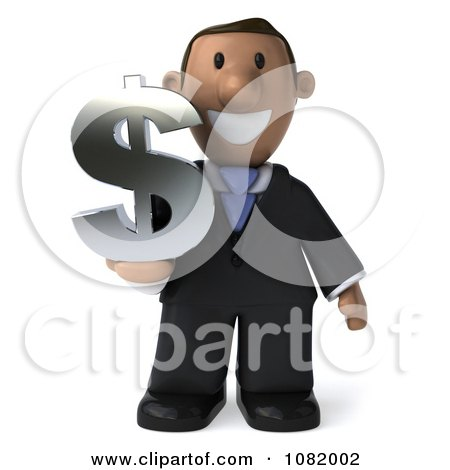 Clipart 3d Indian Business Guy Holding A Dollar Symbol 1 - Royalty Free CGI Illustration by Julos