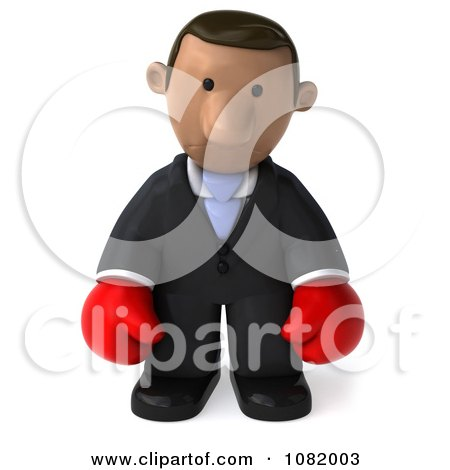 Clipart 3d Sad Indian Business Guy Wearing Boxing Gloves 2 - Royalty Free CGI Illustration by Julos