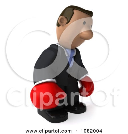 Clipart 3d Sad Indian Business Guy Wering Boxing Gloves 1 - Royalty Free CGI Illustration by Julos