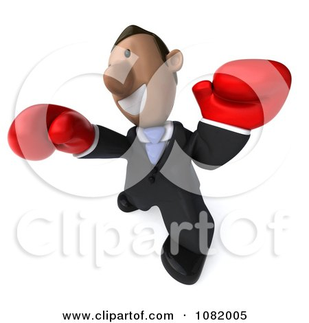 Clipart 3d Indian Business Guy Punching With Boxing Gloves 4 - Royalty Free CGI Illustration by Julos