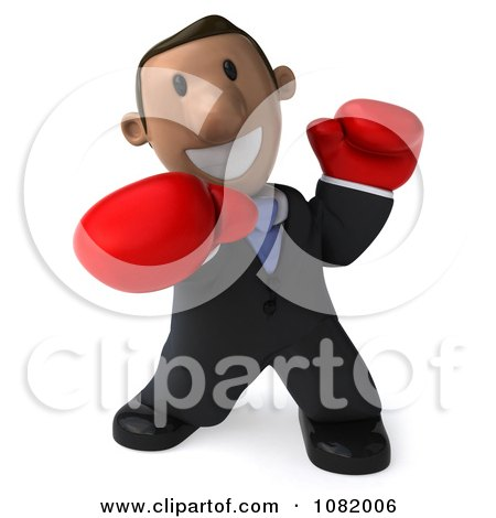 Clipart 3d Indian Business Guy Punching With Boxing Gloves 1 - Royalty Free CGI Illustration by Julos