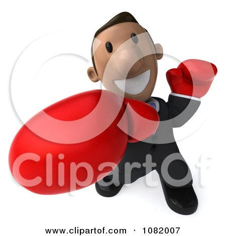 Clipart 3d Indian Business Guy Punching With Boxing Gloves 2 - Royalty Free CGI Illustration by Julos