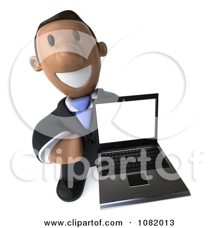 Clipart 3d Indian Business Guy Presenting A Laptop Computer 3 - Royalty Free CGI Illustration by Julos