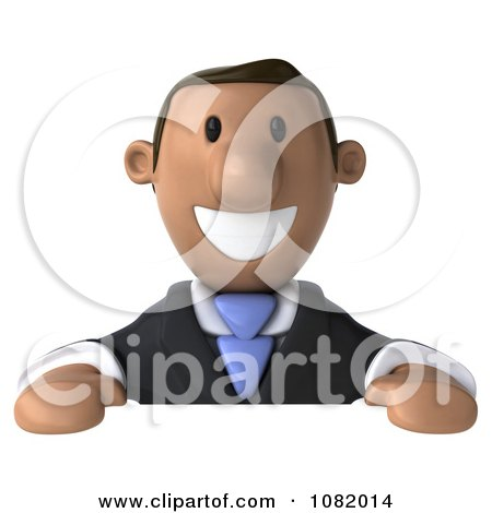 Clipart 3d Indian Business Guy Smiling Over A Blank Sign - Royalty Free CGI Illustration by Julos