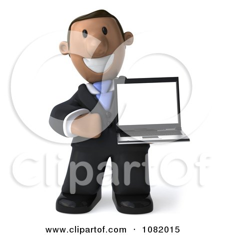 Clipart 3d Indian Business Guy Presenting A Laptop Computer 1 - Royalty Free CGI Illustration by Julos