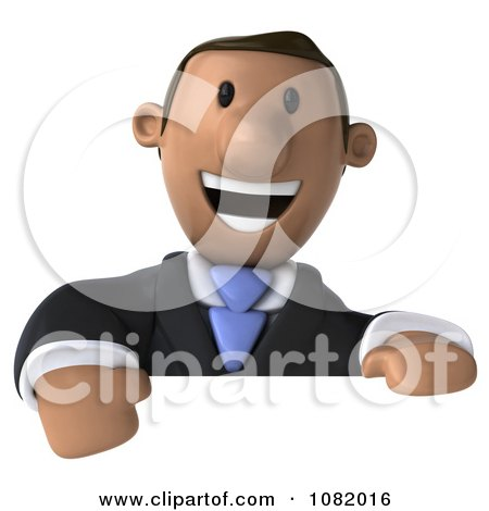 Clipart 3d Indian Business Guy Presenting Over A Blank Sign - Royalty Free CGI Illustration by Julos