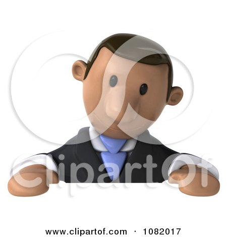 Clipart 3d Indian Business Guy Looking Down At A Blank Sign - Royalty Free CGI Illustration by Julos