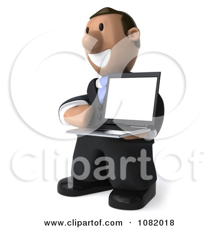 Clipart 3d Indian Business Guy Presenting A Laptop Computer 2 - Royalty Free CGI Illustration by Julos