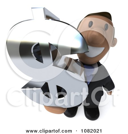 Clipart 3d Indian Business Guy Holding A Dollar Symbol 3 - Royalty Free CGI Illustration by Julos