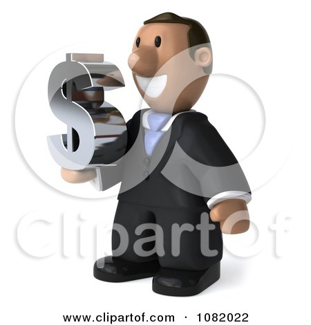 Clipart 3d Indian Business Guy Holding A Dollar Symbol 2 - Royalty Free CGI Illustration by Julos
