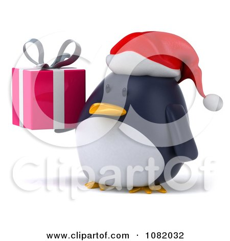 3d Chubby Penguin Holding A Christmas Gift 2