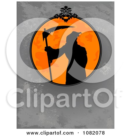 Clipart Silhouetted Grim Reaper In An Orange Halloween Frame Over Gray Grunge - Royalty Free Vector Illustration by Pushkin