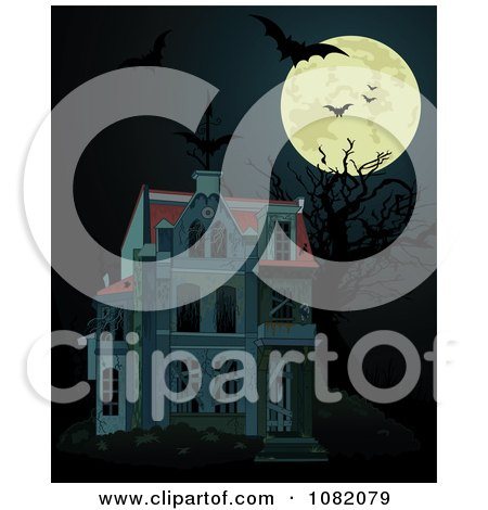 Clipart Full Moon With Bats And A Dark Halloween Haunted House - Royalty Free Vector Illustration by Pushkin