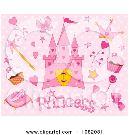 Clipart Pink Princess And Fairy Tale Items On Polka Dots - Royalty Free Vector Illustration by Pushkin