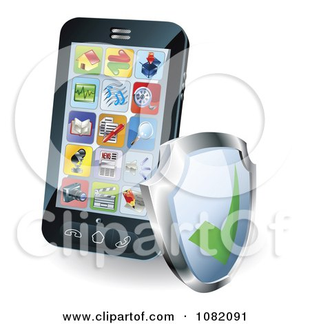 Clipart 3d Smart Phone With Apps And A Shield - Royalty Free Vector Illustration by AtStockIllustration