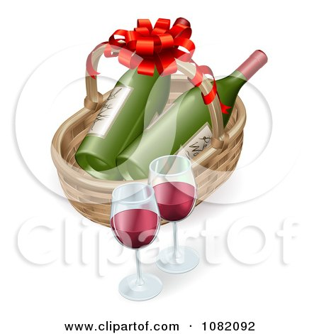 Clipart 3d Basket With Wine Bottles And Glasses - Royalty Free Vector Illustration by AtStockIllustration