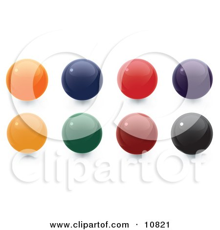 Clipart Illustration of Orange, Blue, Red, Purple, Yellow, Green, Red and Black 3D Sphere Internet Buttons by Leo Blanchette