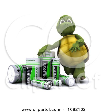 Clipart 3d Tortoise With Rechargeable Batteries - Royalty Free CGI Illustration by KJ Pargeter