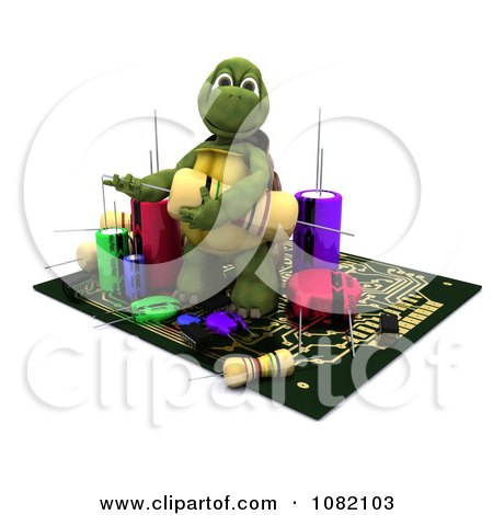 Clipart 3d Tortoise Working On A Circuit Board - Royalty Free CGI Illustration by KJ Pargeter