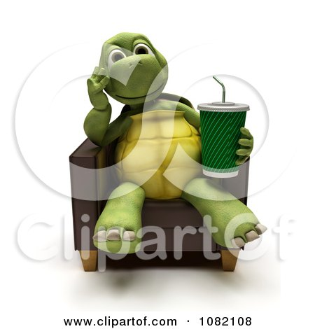 Clipart 3d Tortoise Sitting In A Chair With A Soda - Royalty Free CGI Illustration by KJ Pargeter