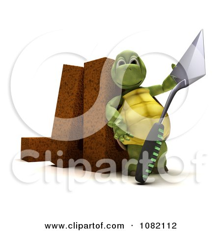 Clipart 3d Tortoise Mason With A Trowel And Bricks - Royalty Free CGI Illustration by KJ Pargeter