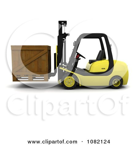 Clipart 3d Yellow Warehouse Forklift Moving A Crate - Royalty Free CGI Illustration by KJ Pargeter