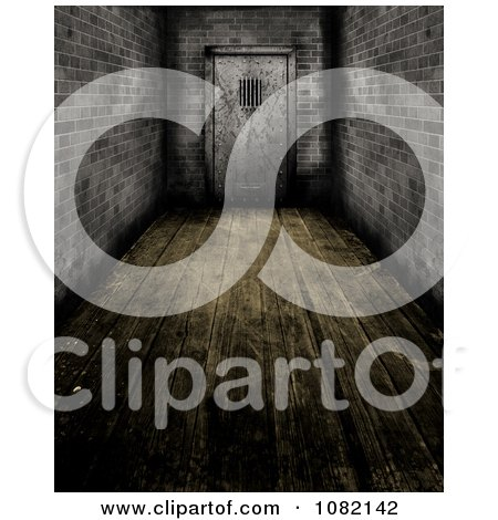 Clipart 3d Wooden Floored Hallway And Prison Door - Royalty Free CGI Illustration by KJ Pargeter