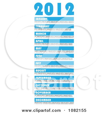 Clipart Blue And White 2012 Year Calendar With All Months - Royalty Free Vector Illustration by michaeltravers