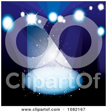 Clipart Dark Blue Background With Bright Stage Lights - Royalty Free Vector Illustration by michaeltravers