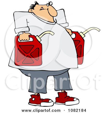 Clipart Man Carrying Two Gas Cans - Royalty Free Vector Illustration by djart