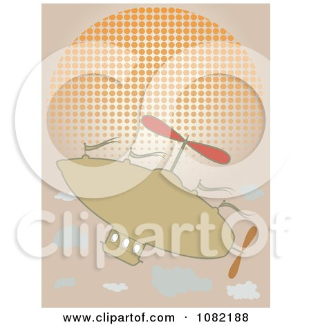 Clipart Tan Blimp Airship Over A Halftone Sun - Royalty Free Vector Illustration by mheld