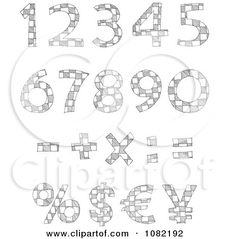 Clipart Sketched Checkered Numbers - Royalty Free Vector Illustration by yayayoyo