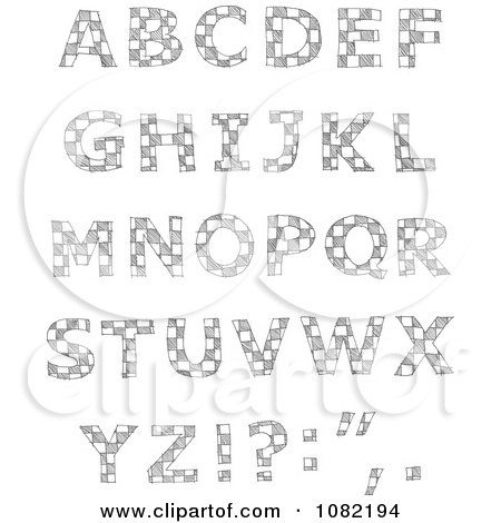 Clipart Sketched Checkered Capital Letters - Royalty Free Vector Illustration by yayayoyo