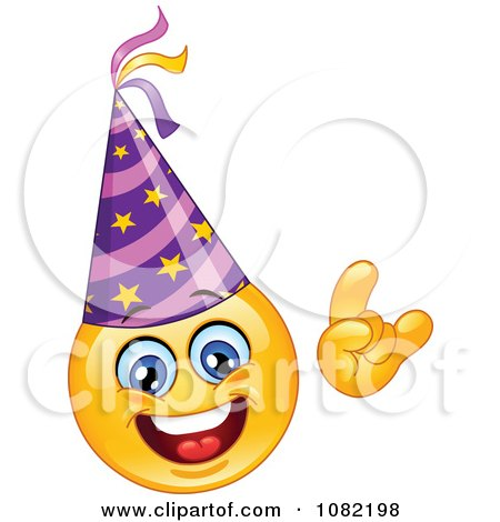 Clipart Yellow New Year Emoticon Smiley Face Wearing A Party Hat - Royalty Free Vector Illustration by yayayoyo
